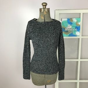 Everlane Black & White Marled Wool Knit Sweater